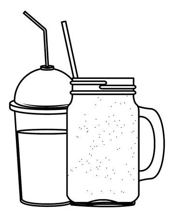 fruit tropical smoothie drink with dome lid, squared glass and straw icon cartoon in black and white vector illustration graphic design