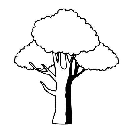 leafy and black and white tree icon with blue foliange isolated cartoon vector illustration graphic design