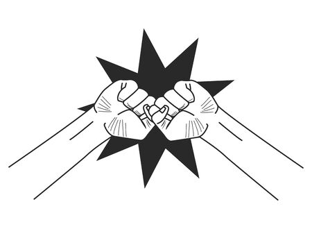 social activity and public protest two raised fists and crashing symbol of fighting protest icon cartoon vector illustration graphic design