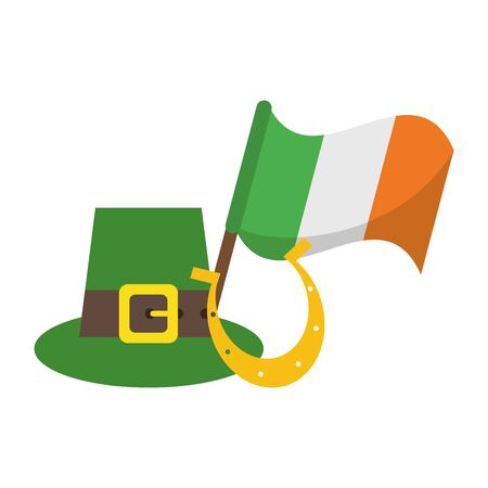 saint patricks day irish tradition leprechaun hat with ireland flag and horseshoe cartoon vector illustration graphic design