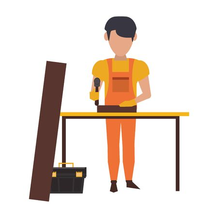 Carpenter working with wooden plank toolbox and hammer on desk vector illustration graphic design