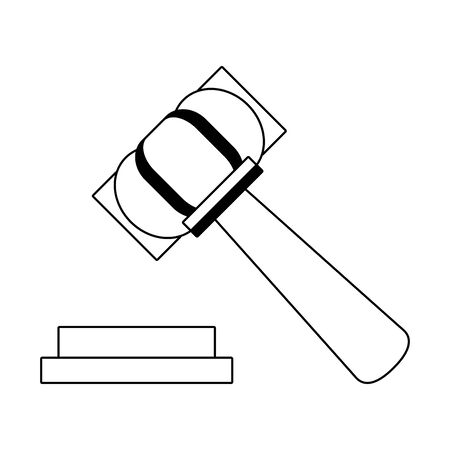 Justice gavel hammer symbol isolated in black and white vector illustration