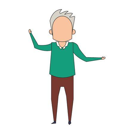 grandparent senior old retirement grandfather cartoon vector illustration graphic design Stock Illustratie