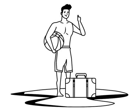Young man in summer time with beach ball and suitcase cartoon vector illustration graphic design Stock Illustratie
