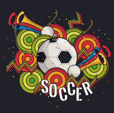 Soccer sport game card with cartoons equipment vector illustration graphic design Illustration