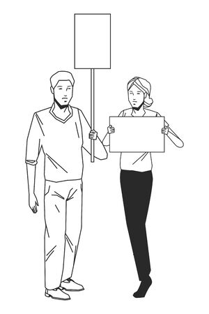 social activity public protest man protester with vector cartoon character black white vector illustrtion graphic design Иллюстрация