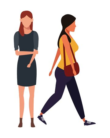 casual people women cartoon vector illustration graphic design Çizim