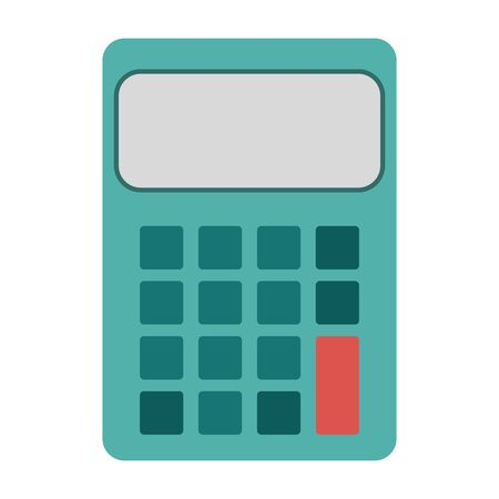 calculator device icon over white background, colorful design. vector illustration