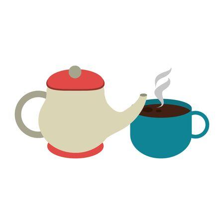 tea pot and mug over white background, vector illustration Illustration
