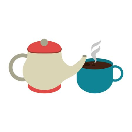 tea pot and mug over white background, vector illustration Vectores
