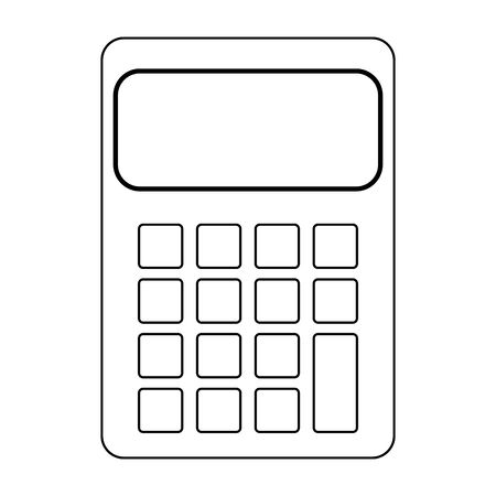 calculator device icon over white background, vector illustration