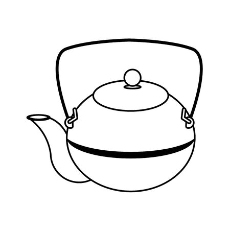 Japanese cast iron teapot icon over white background, vector illustration