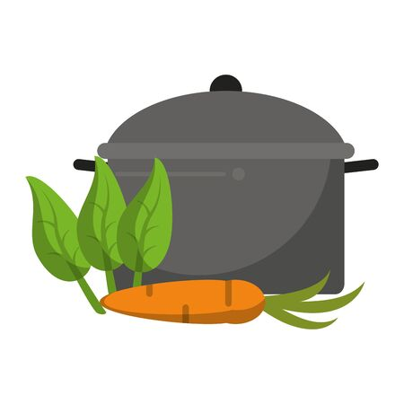 healthy and balanced food carrots with mint and cooking pot cartoon vector illustration graphic design 矢量图像