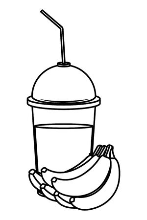 tropical fruit and smoothie drink with banana cluster icon cartoon in black and white vector illustration graphic design Çizim