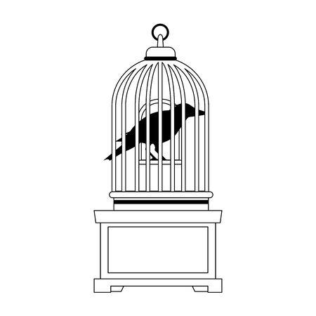 halloween dark crow bird with cage vector illustration design Vector Illustration