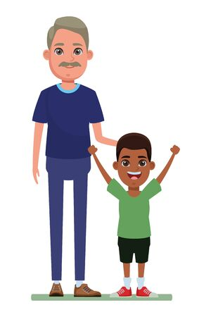 family avatar grandfather with moustache next to afroamerican boy profile picture cartoon character portrait vector illustration graphic design Illustration