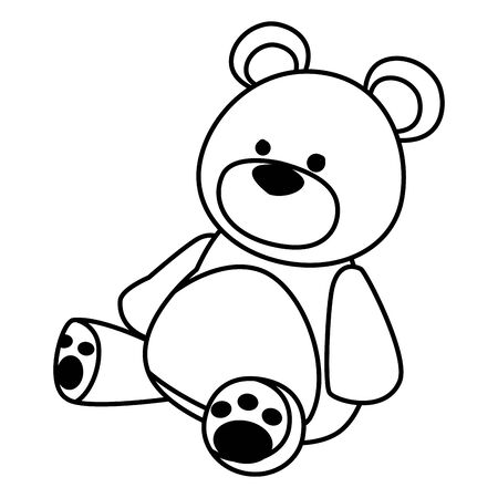 teddy bear toy icon cartoon isolated black and white vector illustration graphic design Banque d'images - 130938537