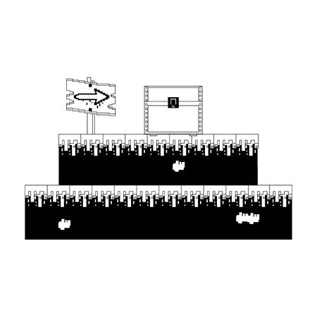 videogame pixelated retro art digital entertainment, wooden arrow direction sign with coffer cartoon vector illustration graphic design Vettoriali