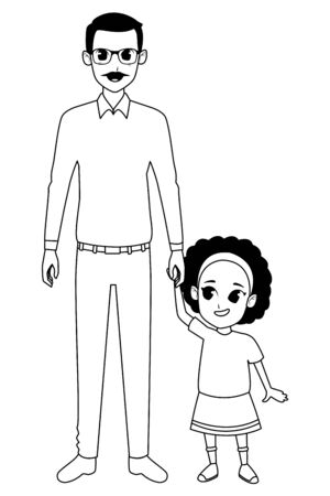 Family grandfather with afro granddaugther cartoon vector illustration graphic design
