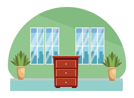 House wooden drawer furniture cartoon home scenery vector illustration graphic design.