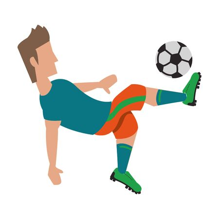 Soccer player kicking ball cartoon isolated vector illustration graphic design Illustration