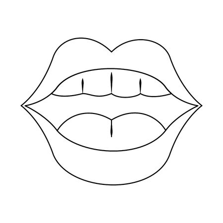 female mouth with pink lips showing the teeths over white background, vector illustration Vetores