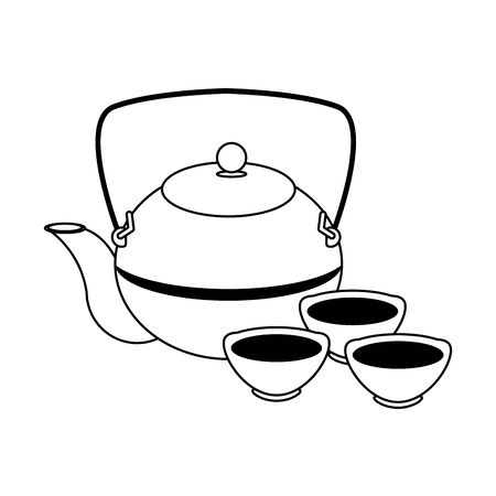 Japanese cast iron teapot and cups over white background, vector illustration