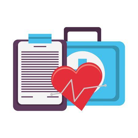 Fitnessgeräte Workout Gesundheit und Kardiologie Kit medizinisch mit Logbuchsymbolen Vektor-Illustration Grafikdesign Vektorgrafik