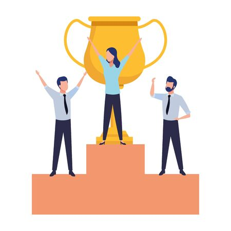 group of three business person with a big trophy in a podium vector illustration graphic design