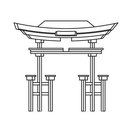 chinese red gate icon over white background, vector illustration