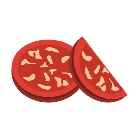 pepperoni slices over white background, vector illustration