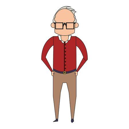 grandparent senior old retirement grandfather wearing glasses cartoon vector illustration graphic design Stock Illustratie
