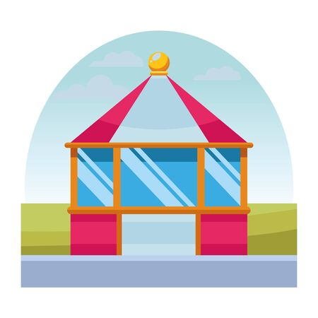 carnival tent in the morning isolated vector illustration graphic design Illustration
