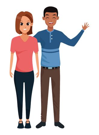 Young man and woman couple smiling and greeting cartoon vector illustration graphic design