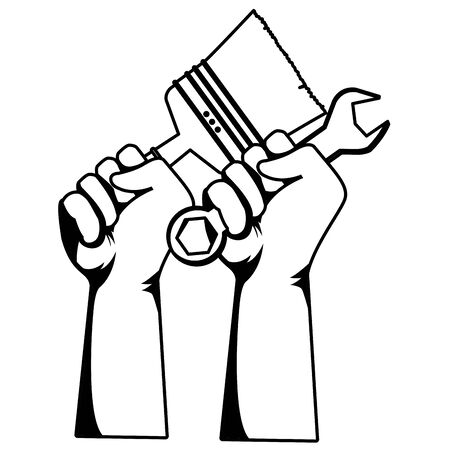 Construction worker hands with brush and wrench tools vector illustration graphic design.