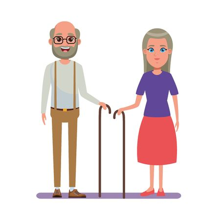 elderly people avatar old woman with long hair and cane and old man with beard, glasses and cane profile picture cartoon character portrait vector illustration graphic design