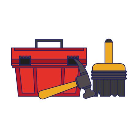 Construction tools toolbox and paint brush with hammer vector illustration graphic design 向量圖像