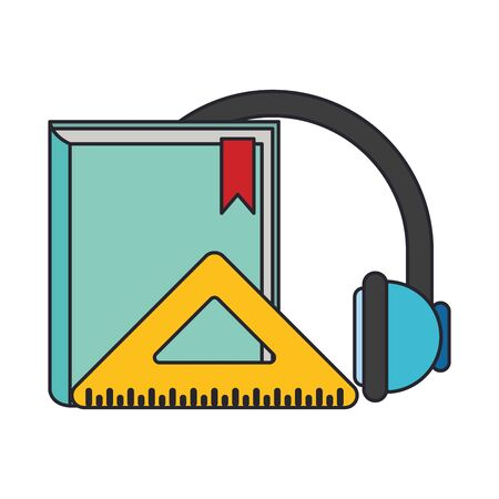book with headphones and squad ruler over white background, colorful design. vector illustration  イラスト・ベクター素材
