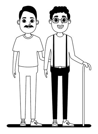 elderly people avatar old man with moustache and afroamerican old man with glasses and cane profile picture cartoon character