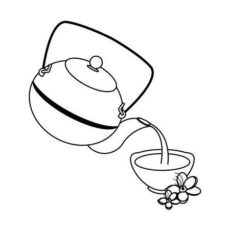 cast iron teapot over white background, vector illustration Ilustrace