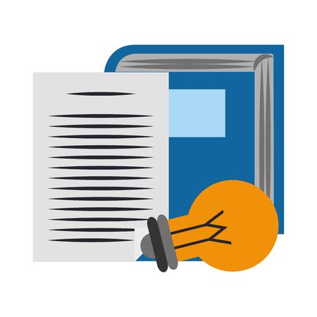 book with paper page and light bulb over white background, vector illustration  イラスト・ベクター素材
