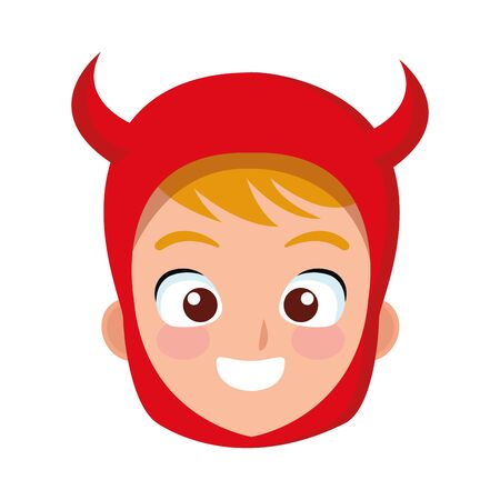 little boy with devil costume head character vector illustration design  イラスト・ベクター素材