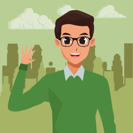 Young man greeting with formal clothes cartoon in the cirty, urban scenery background ,vector illustration graphic design. Illustration
