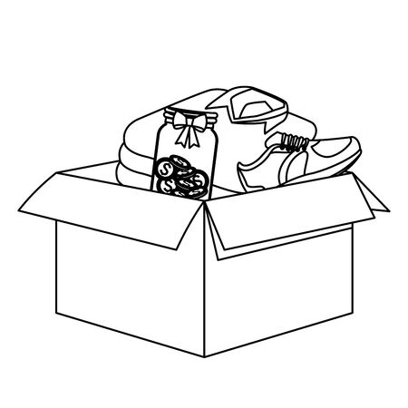 carton box with diferents things inside, teddy bear toy, glass jar with coins, sneaker and folded clothes black and white vector illustration graphic design Banque d'images - 131090144