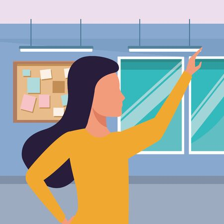 Executive businesswoman with arm up inside office building with corkboard and windows vector illustration graphic design.