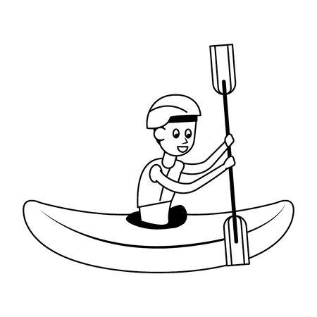 Hombre de deportes acuáticos en kayak con diseño gráfico de ilustración de vector de dibujos animados de remo aislado Ilustración de vector