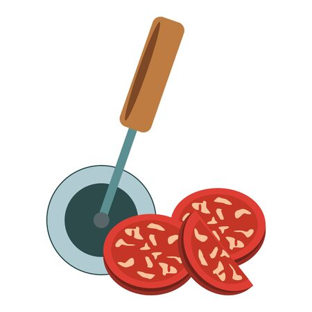 pepperoni slices and pizza cutter over white background, vector illustration