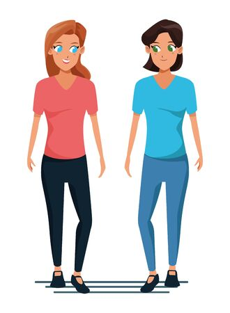 Young women couple smiiling and walking cartoon isolated vector illustration graphic design