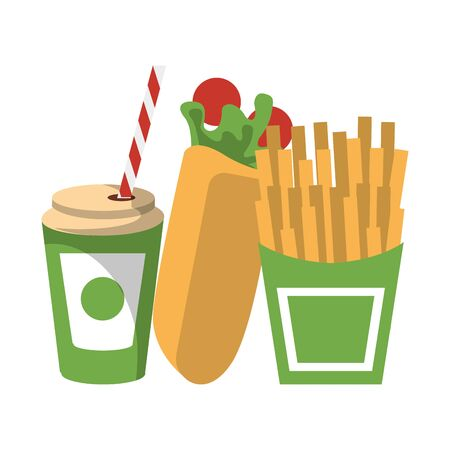Fast food wrap and french fries with soda cup isolated vector illustration graphic design