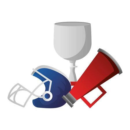 american football sport game champion trophy with megaphone and helmet cartoon vector illustration graphic design